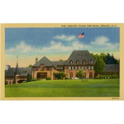 Linen Postcard. Asheville Country Club House, Asheville, N.C.