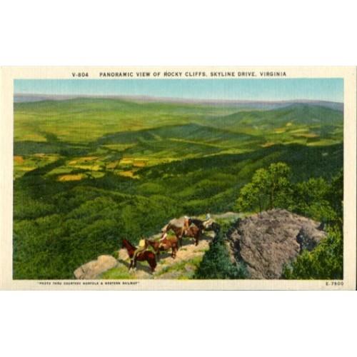 Linen Postcard. Panoramic View of Rocky Cliffs, Skyline Drive, Virginia