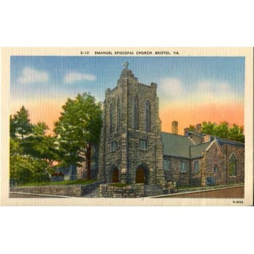 Linen Postcard. Emanuel Episcopal Church, Bristol, Va.