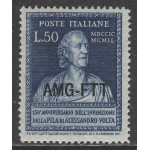 1949 Trieste Zone A   50 Lire  Alessandro Volta  with op  mint*, Scott 54