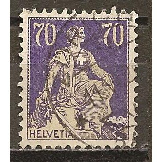 1924  SWITZERLAND  70 c.  Helvetia  issue used, Scott # 142