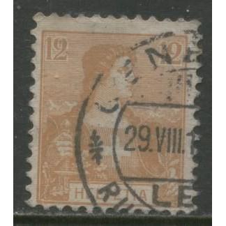 1907  SWITZERLAND   12 c.  Helvetia  issue  used, Scott # 130