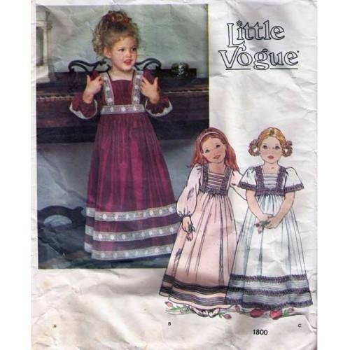 Vintage Little Vogue Dress Pattern 1800-s Size 4 UNCUT
