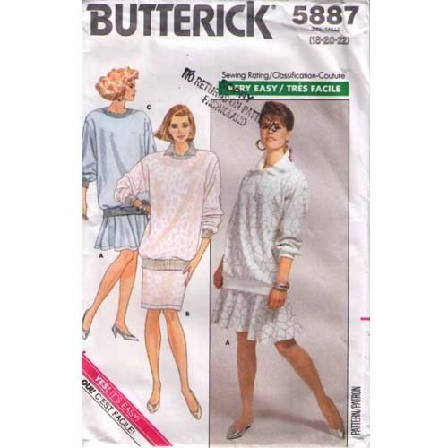 1987 LOOSE-FITTING TOP & SKIRT Pattern 5887-b Size 18-20-22 UNCUT