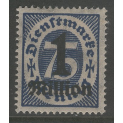 1923 GERMANY   1 mil Mark on 75 Pf. Official  issue mint*  Scott # O37