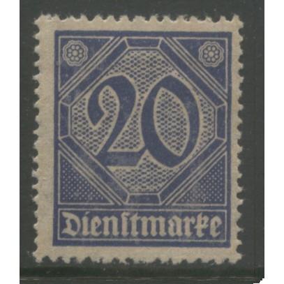1920 GERMANY   20 Pfennig  Official  issue mint*  Scott # O5
