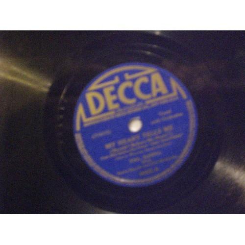 78 RPM: #1044.. PHIL HANNA - MY HEART TELLS ME & BESAME MUCHO / DECCA 4432 / VG+