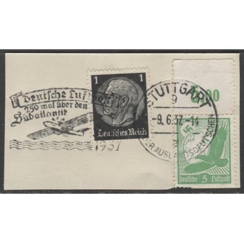 1934 GERMANY  1 Pfennig  Hindenburg & 5 Pf. Air Mail  used, Scott # 415, C46