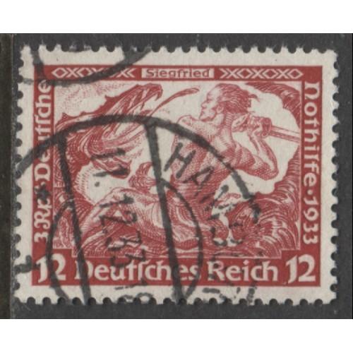 1933 GERMANY  12+3 Pfennig  -SIEGFRIED- Wagner issue used, Scott # B54