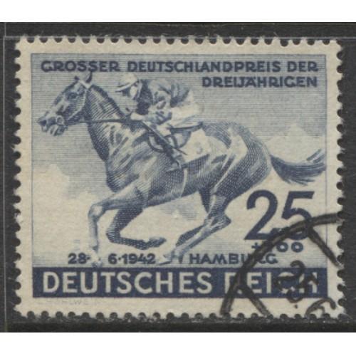 1942 GERMANY  25+100 Pf. Horse Race  73rd Hamburg Derby  used, Scott # B204