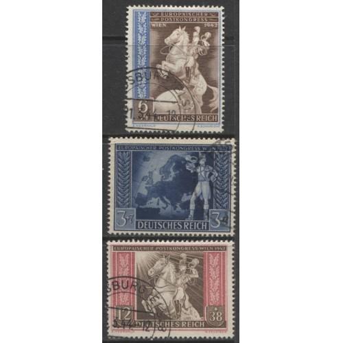 1942 GERMANY  complete set European Postal Congress  used, Scott # B209-B211