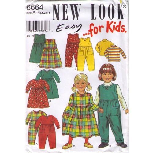 1990's DRESS-TOP-ROMPER Pattern 6664-nl - Toddler Multi-Size