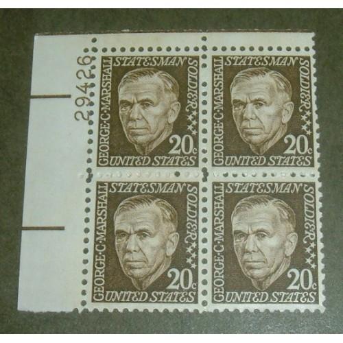 US, Scott# 1289, twenty cent George Marshall PB of 4 stamps