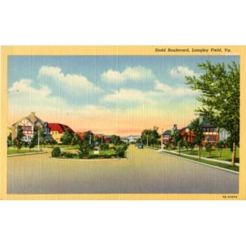 Linen Postcard. Dodd Boulevard, Langley Field, Va.