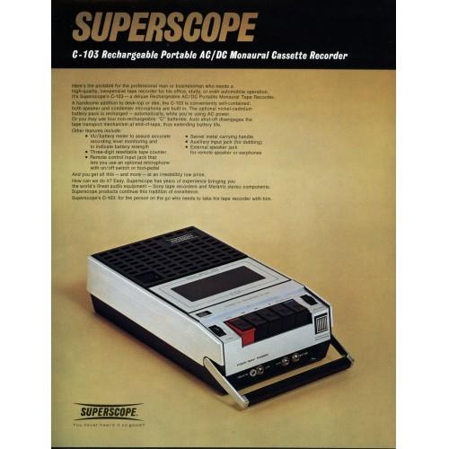 Superscope C-103 Cassette Recorder Sales Brochure