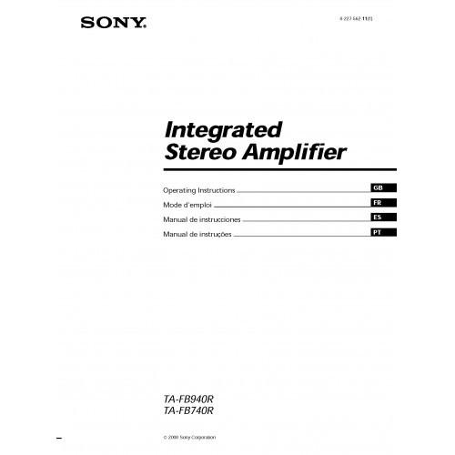 Sony TA-FB940R/FB740R Amplifier Owners Manual