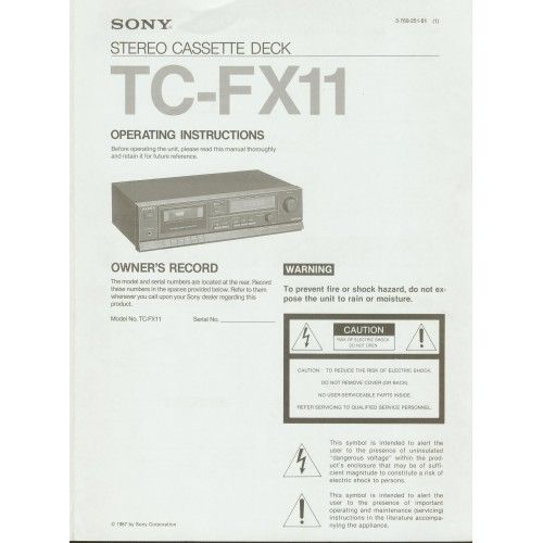 Sony TC-FX11 Cassette Deck Owners Manual