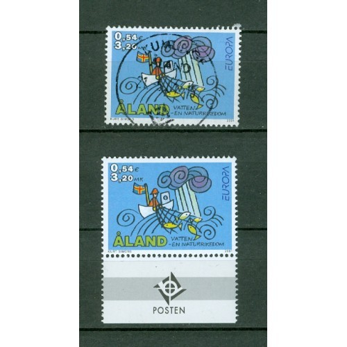 """Aland.  2 Stamps 2001.  """" Europe"""" . Mnh + Cancel"""