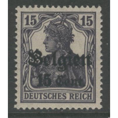 1916  BELGIUM   15 cent. Germania issue, German occupation mint**, Scott # N16