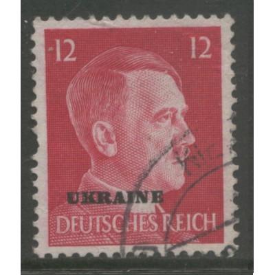 1941 RUSSIA / UKRAINE  12 Pf.  Hitler, German occupation  used, Scott # N38