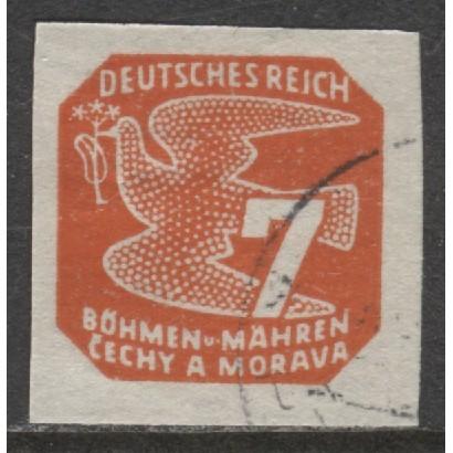 1943 BOHEMIA & MORAVIA  7 h. Newspaper  German occupation used, Scott # P13