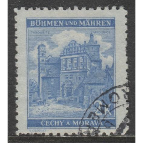 1941 BOHEMIA & MORAVIA  2 K. Pardubice  German occupation used, Scott # 53A