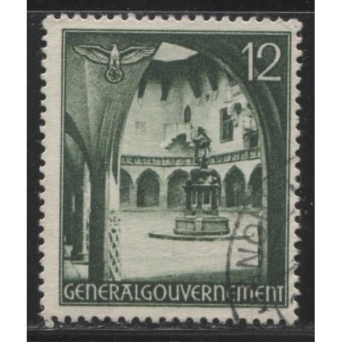 1940 POLAND  12 Gr. Courtyard & Statue  German occupation used, Scott # N60