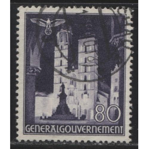 1940 POLAND  80 Gr. St. Mary's Church  German occupation used, Scott # N70
