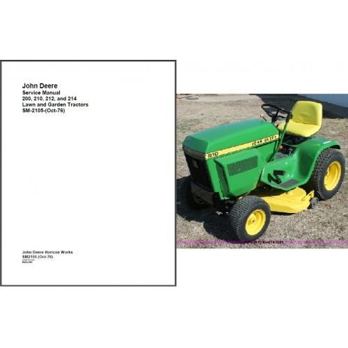 John Deere 200 210 212 214 Lawn & Garden Tractor Service Manual CD - SM2105