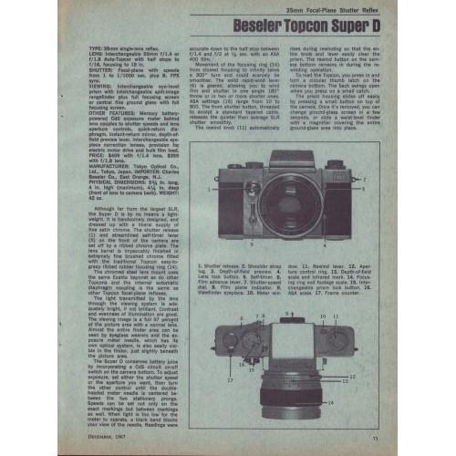 Beseler - Topcon Super D 35mm Camera - Test Report 1967