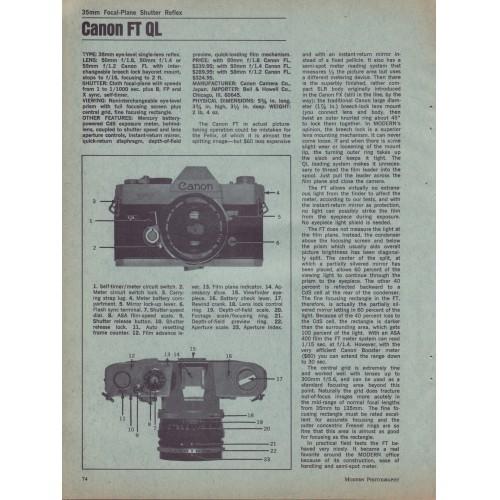 Canon - FT QL 35mm Camera - Test Report 1967
