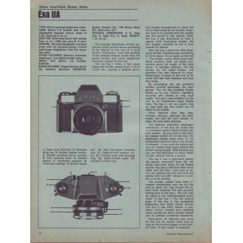 Exakta - Exa IIA 35mm Camera - Test Report 1967