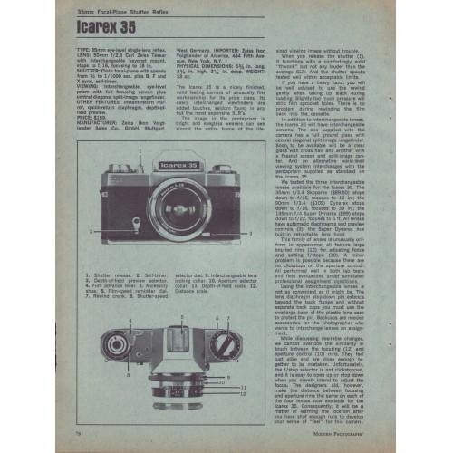 Zeiss - Icarex 35 35mm Camera - Test Report 1967