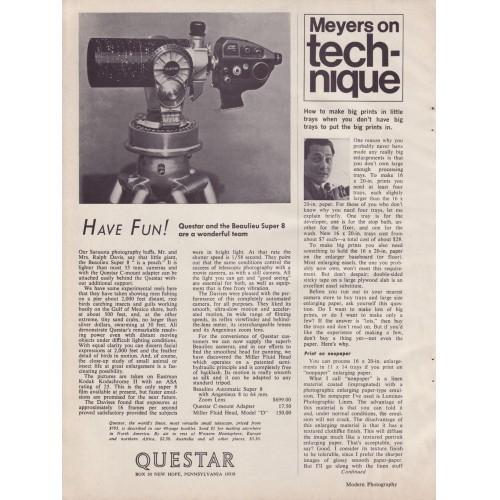 Questar - Telescope - A - Magazine Ad - 1967