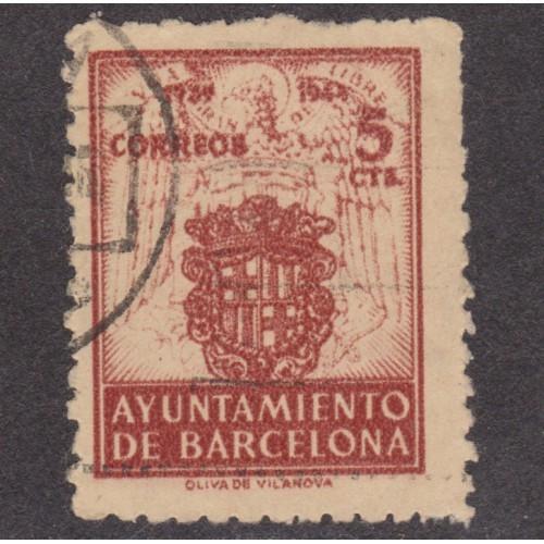 USED 5 CENTIMOS BARCELONA POSTAL TAX STAMP (1944)