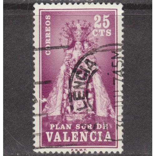 USED 25 CENTIMOS VALENCIA POSTAL TAX STAMP (1973)
