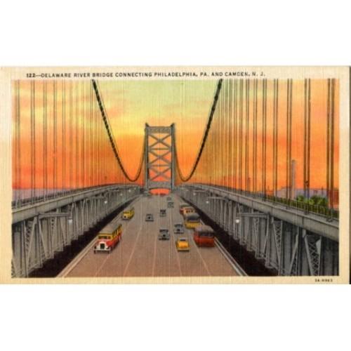 Linen Postcard. Delaware River Bridge Connecting Philadelphia, Pa. & Camden, NJ