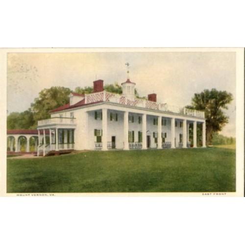 White Border Postcard. Mount Vernon, Va., East Front