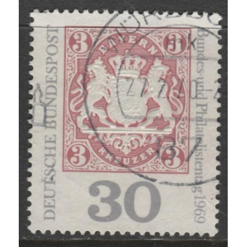 1969 GERMANY  30 Pf.  Federation of German Philatelists  used, Scott # 1008