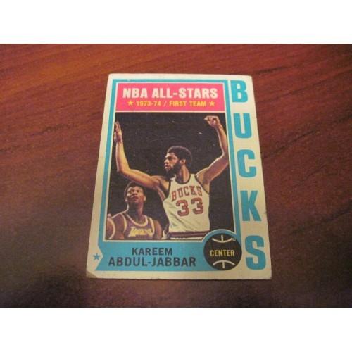 1973 1974 NBA Topps Basketball Card 1 Kareem Abdul Jabbar UCLA LA Lakers
