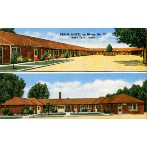 Linen Postcard. Kruse Motel on Hiway No. 91, Idaho Falls, Idaho