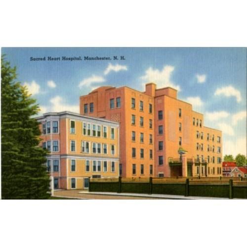 Linen Postcard. Sacred Heart Hospital, Manchester, N.H.