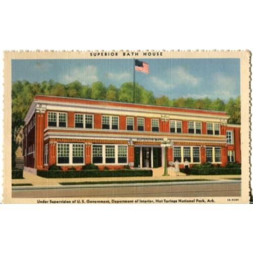 Linen Postcard. Superior Bath House...Hot Springs National Park, Ark.