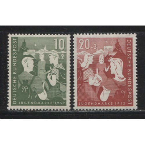1952  GERMANY  complete semi postal set  mint*,  Scott # B325-B326