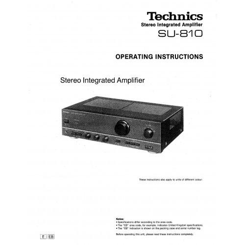 Technics SU-810 Amplifier Owners Manual