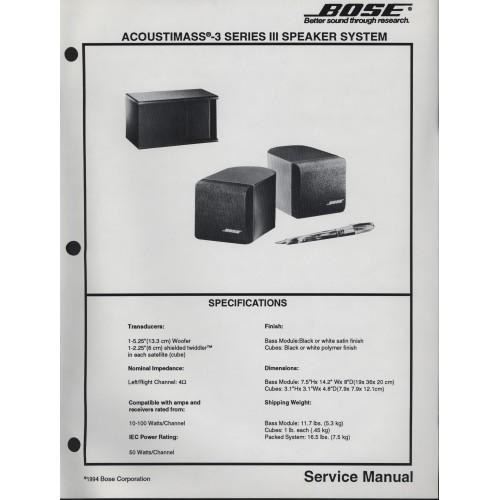 Bose Acoustimass-3 Series III Speaker Service Manual