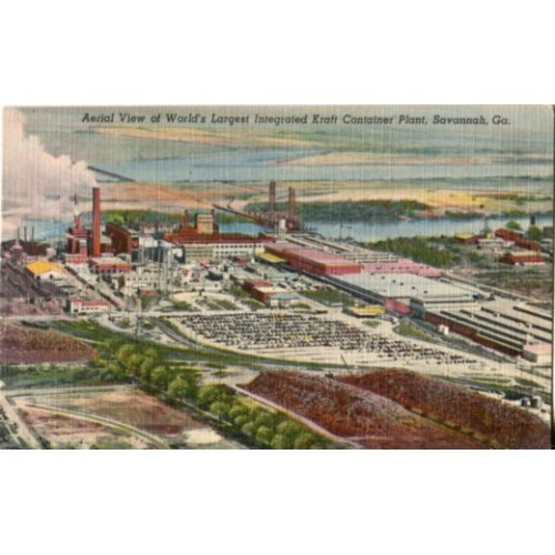 Aerial View of World's Largest Integrated Kraft Container Plant, Savannah, Ga.
