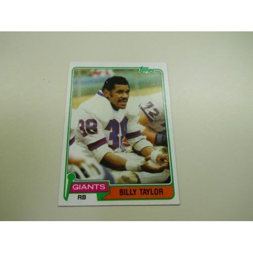 1981 Football Card 34 Billy Taylor Texas Tech New York Giants