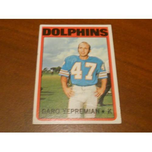 1972 Football Card 115 Garo Yepremian Miami Dolphins