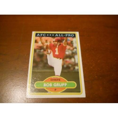 1980 Topps Football Card 525 Bob Grupp Duke University Kansas City Chiefs